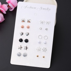 12 pairs of geometric round chicken flower butterfly star stud earrings set #1