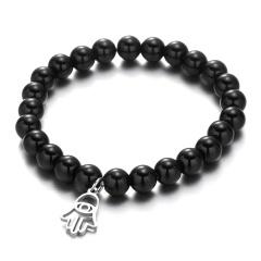 Black Gemstone Beads Silver Stainless Steel Dangle Bracelets plam