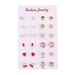 12 Pairs of Geometric Circle Cherry Aircraft Umbrella Stud Earrings Set #1