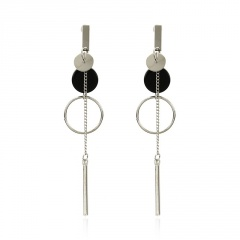 Golden circle long stud dangle earrings jewelry wholesale silver