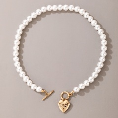Simple Heart Pearl Clavicle Chain Necklace Jewelry #1