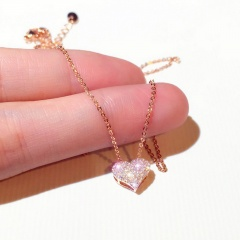 fashion shining diamon heart pendant chain necklace jewelry heart