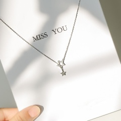 fashion silver star chain necklace jewelry silver