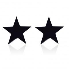 Stainless steel five-pointed star stud earrings black