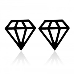 Geometric stainless steel cutout diamond stud earrings black