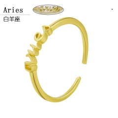 Gold 12 constellation letter open rings jewelry Aries