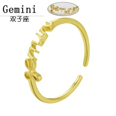 Gold 12 constellation letter open rings jewelry Gemini
