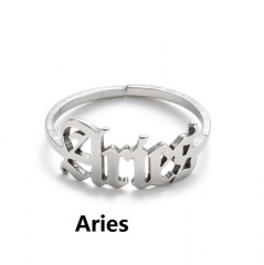 Silver 12 constellation stainless steel adjustable open ring Aries