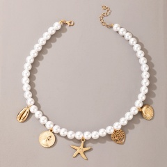 Imitation pearl shell starfish coin embossed headtree pendant Charming necklace size: about 40cm white