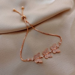 Rose gold real gold plating three butterflies inlaid cubic zirconia adjustable copper bracelet (Circumference 16-26cm) rose gold