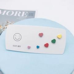 3pairs/set Color Love Paint Ring Set (size 0.5-1cm) A