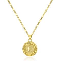 26 Letter Round Gold Pendant Clavicle Chain Necklace (Pendant size: 1.7*2.3cm/chain length: 40+5cm)opp E