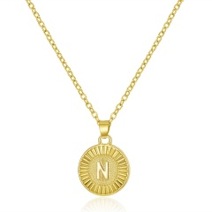 26 Letter Round Gold Pendant Clavicle Chain Necklace (Pendant size: 1.7*2.3cm/chain length: 40+5cm)opp N