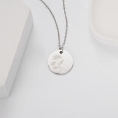 Geometric round pendant month flower necklace (Pendant size: 7*2cm, chain length: 44cm) opp November chrysanthem