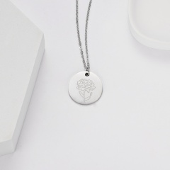 Geometric round pendant month flower necklace (Pendant size: 7*2cm, chain length: 44cm) opp January carnation