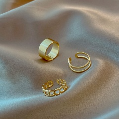 Simple hollow C-shaped chain smooth opening combination ring 3pcs/set  opp gold