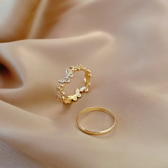 Simple butterfly inlaied rhinestone ring set 2pcs/set