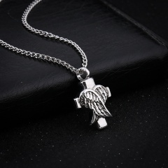 Angel Wings Cross Pendant Necklace/ Animal Urn Necklace (Pendant size: 2cm, chain length: 33cm) opp sliver