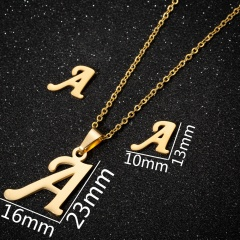 12 alphabet stainless steel necklace earring studs set (Chain length: 45cm) A