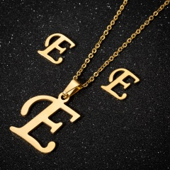 12 alphabet stainless steel necklace earring studs set (Chain length: 45cm) E