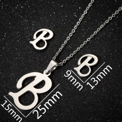 26 Letters Stainless Steel Necklace Earring Set/Monotyep Corsiva Font Necklace Set (size 45cm) opp B