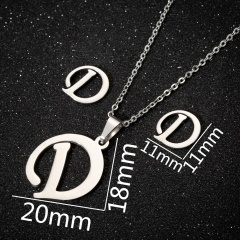 26 Letters Stainless Steel Necklace Earring Set/Monotyep Corsiva Font Necklace Set (size 45cm) opp D