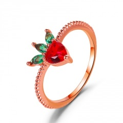 ins wind rhinestone strawberry fruit ring (size 2cm) Rose gold strawberry
