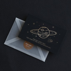 Black bronzing business message birthday wishes thank you card with envelope can be written universe