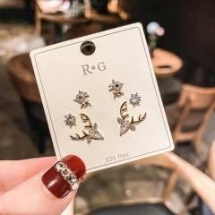 3pairs/set 925 Silver Needle Cubic Zirconia Pearl Copper Earring Set (Paper jam+OPP) Christmas elk