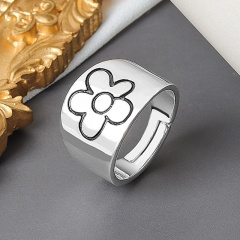 Simple wide face flower open copper ring (Adjustable opening) #1Platinum opening