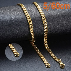 Punk Stainless Steel Necklace for Men Women Curb Cuban Link Chain Choker Necklace W:5mm L:24inch