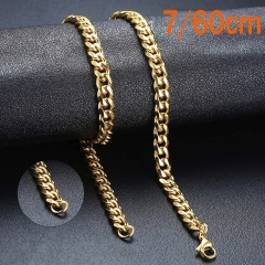 Punk Stainless Steel Necklace for Men Women Curb Cuban Link Chain Choker Necklace W:7mm L:24inch