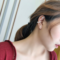 Simple pearl C-shaped cross ear clip earrings 3pcs/set