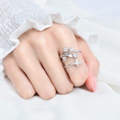 Butterfly flower leaf inlaid rhinestone open ring sliver