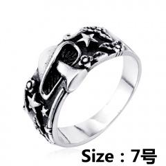 Mushroom star flower leaf embossed ring #7 silver