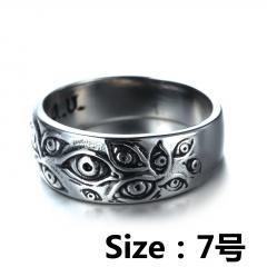 Vintage Eye Embossed Band Ring #7