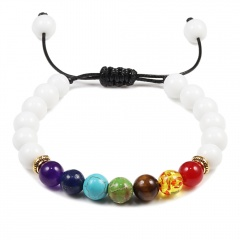 Seven chakra natural stone woven beaded bracelet (Bead: 8mm, circumference: 15-30cm) A