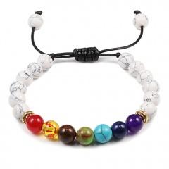 Seven chakra natural stone woven beaded bracelet (Bead: 8mm, circumference: 15-30cm) B