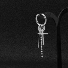 Single steel color chain men's pierced earrings (length about 7cm diameter 1.6cm) Cross
