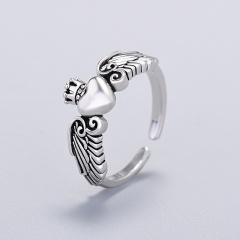 Love Crown Angel Wings Open Copper Ring silver