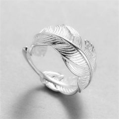 Feather Leaf Copper Silver Plated Open Ring silver