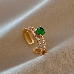 Green geometric cube zirconia copper plated real gold open ring gold