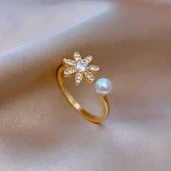 Flowers imitation pearl cubic zirconia gold plated copper ring opening gold