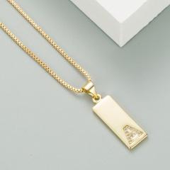 Cubic Zirconia Letter Pendant Reversible Heart-shaped  copper Necklace (Chain length: 45+5cm, pendant: 0.8*2.0cm) A
