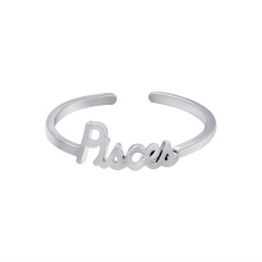 White twelve constellation letters open copper ring Aries