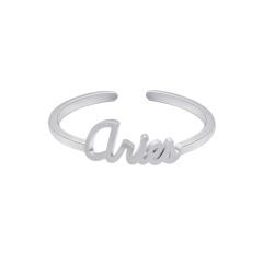 18KGP twelve constellation letters open copper ring Aries