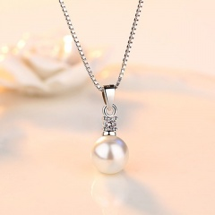 Copper plated platinum freshwater pearl cubic zirconia necklace (Pendant size: 1.8*0.8cm, chain length 45cm) white