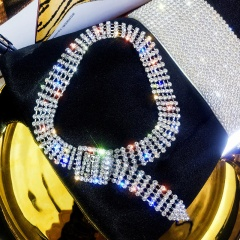 Full rhinestone adjustable short necklace (Width: 1.3cm, chain length 40.5cm) silver