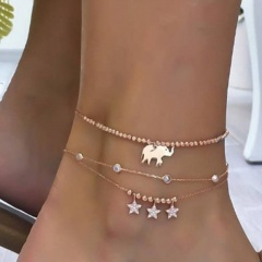 Elephant star rhinestone gold chain anklet set (Chain length: 20+5cm) 3pcs/set