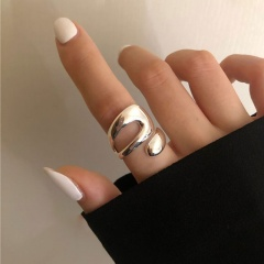 Hollow interlaced irregular curve open copper ring A